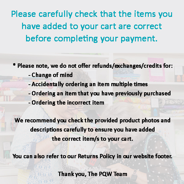 Please carefully check your cart before paying